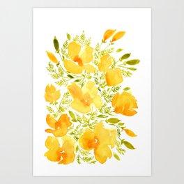Watercolor California poppies (Quad set, #2) Art Print