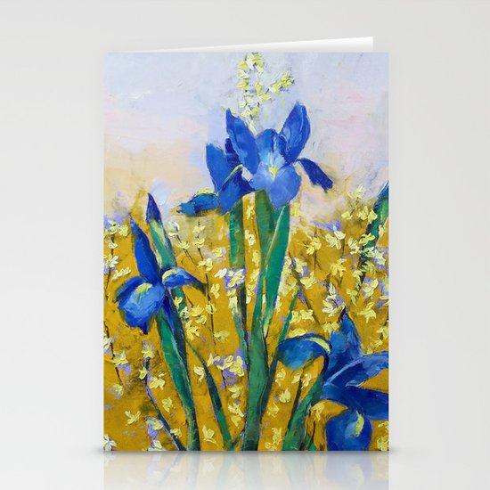 Iris and Forsythia Stationery Cards