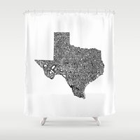 texas Shower Curtains featuring Typographic Texas by CAPow!