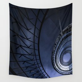 Blue spiral staircase Wall Tapestry