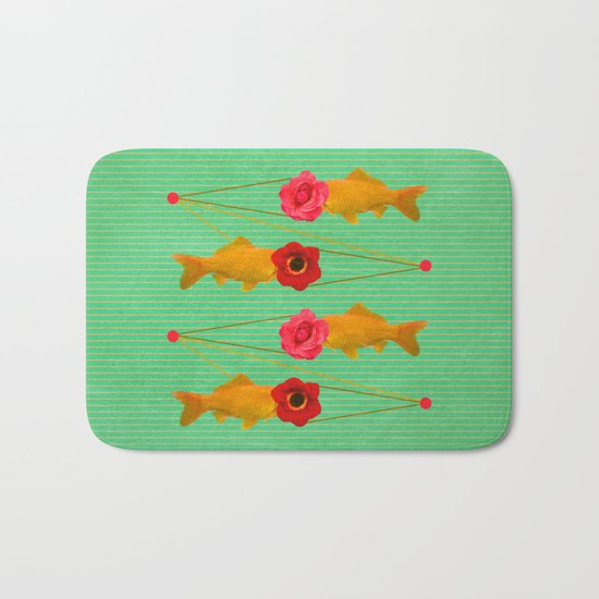 fishes and flowers Bath Mat