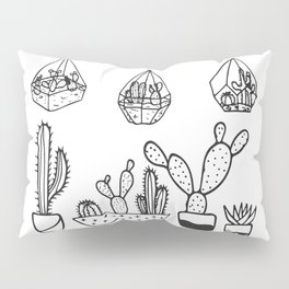 Cactus Garden Black and White Pillow Sham