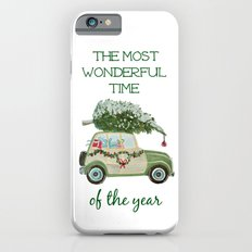 Vintage Christmas car with tree green iPhone 6 Slim Case