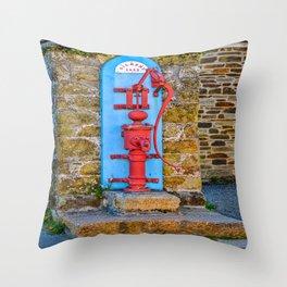 Mylor Bridge - Historic Water Pump on Lemon Hill Throw Pillow