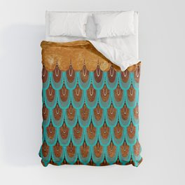Copper Metal Foil and Aqua Mermaid Scales- Abstract glitter pattern  Duvet Cover