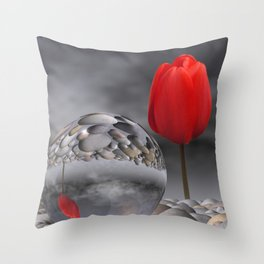 tulip, pebbles and breaking light Throw Pillow