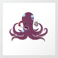 Old vs New Octopus Art Print