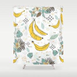 Seamless Pattern with Bananas. Scandinavian Style. Shower Curtain