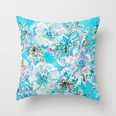 BEACH BABE Aqua Watercolor Floral Throw Pillow