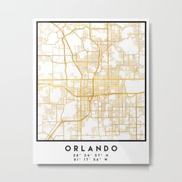 ORLANDO FLORIDA CITY STREET MAP ART Metal Print
