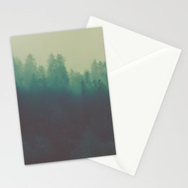 Misty Blue Pine Forest Tall Parallax Trees Silhouette Ombre Forest Foggy Landscape Stationery Cards