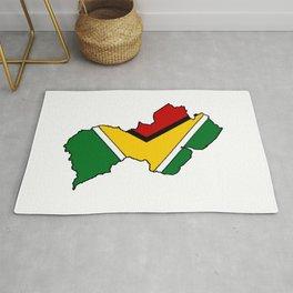 Guyana Map with Guyanese Flag Rug