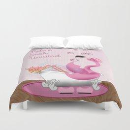 Flamingo Enjoying the Bath Duvet Cover