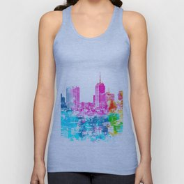 city at San Francisco, USA with colorful abstract background in pink blue yellow green Unisex Tank Top