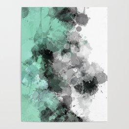 Mint Green Paint Splatter Abstract Poster