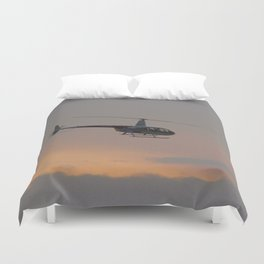 Helicopter At Sunset Duvet Cover