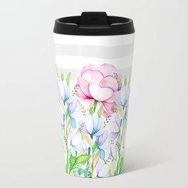 Modern watercolor pink lavender teal floral white stripes Travel Mug