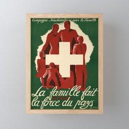 retro vintage pro familia la famille fait la force du pays poster Framed Mini Art Print