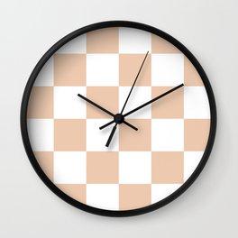 Large Checkered - White and Desert Sand Orange Wall Clock