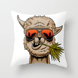 Llama Alpaca Funny Animal Cool Lama Glama Gift Throw Pillow
