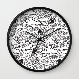 Doodle clouds and swallows. Cloudscape pattern with birds. Wall Clock