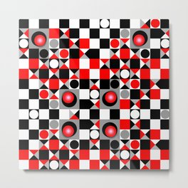 Cute Patterns in red, black and grey Metal Print