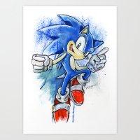 sonic Art Prints featuring Sonic by Luke Jonathon Fielding