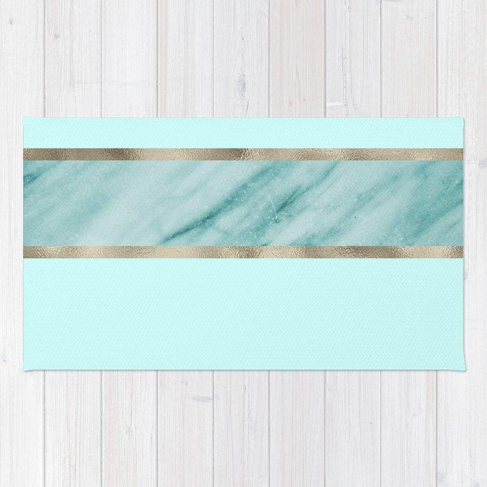 Aqua Marble Azure Stripe Rug