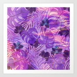 Lavender pink tropical floral watercolor brushstrokes Art Print