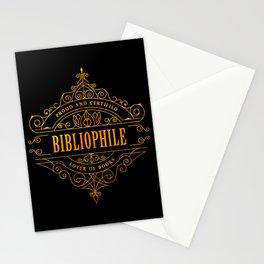 Gold Bibliophile on Black Stationery Cards