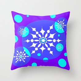 A Winter Snowy Design with Pretty Snowflakes Throw Pillow