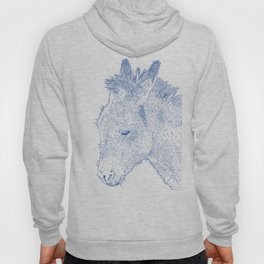 donkey drawing, blue Hoody