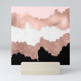 Girly Modern Rose Gold Pink Glitter Brushstroke Art Mini Art Print