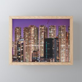 Hong Kong Purple High Rise Framed Mini Art Print