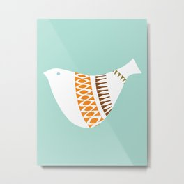 Mid-century Illustrated Bird No. 1 Metal Print