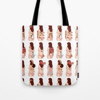 pizza Tote Bags featuring Girl & Pizza by Kimiaki Yaegashi