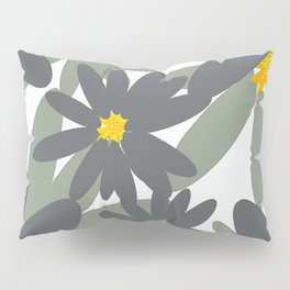 Large Flowers on White - Green and Gray on White #decor #society6 buyart Pillow Sham