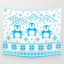 Cute Blue Scandinavian Penguin Holiday Design Wall Tapestry