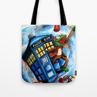 muppet Tote Bags featuring Muppet Who - The eleventh doctor. by James Powell