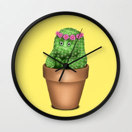 Cute Cactus (Yellow Background) Wall Clock