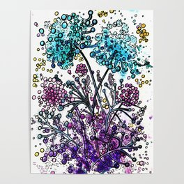 Purple floral watercolor abstraction Poster