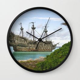 Pirate ship in the Caribbean Wall Clock