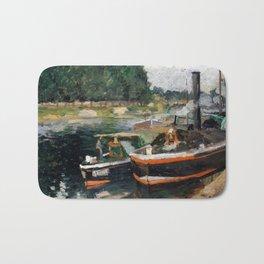 Camille Pissarro Barges at Pontoise Bath Mat