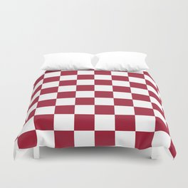 Crimson Red Checkered Pattern Duvet Cover