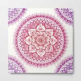 Yin Yang Mandala in Tropical Sunset Metal Print