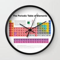 periodic table Wall Clocks featuring The Periodic Table of Elements by moleculestore