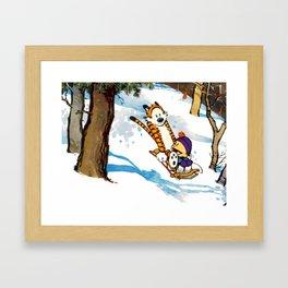 Calvin and Hobbes Slidding Framed Art Print