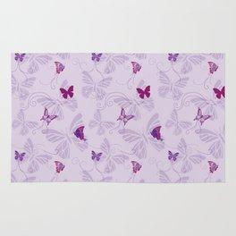 Butterflies on Violet Rug