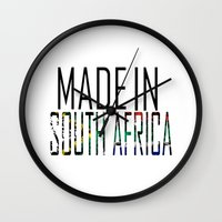 south africa Wall Clocks featuring Made In South Africa by VirgoSpice
