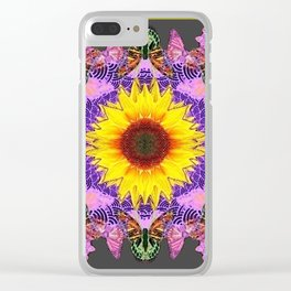 YELLOW SUNFLOWER LILAC BUTTERFLIES ABSTRACT Clear iPhone Case